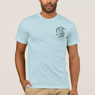 Eastern Calligraphy Glyphs - Blues, Yellows T-Shirt