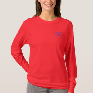 Eastern Calligraphy Glyphs - Pink and Blue T-Shirt