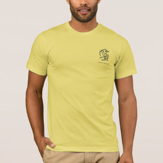 Eastern Calligraphy Pictograms - Blues, Yellows T-Shirt