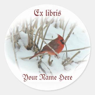 Eastern Cardinal Songbird Ex Libris Sticker