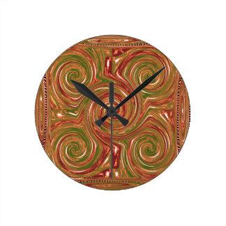 Eastern Chinese Golden GOODLUCK Art GIFTS FUN Round Wall Clock