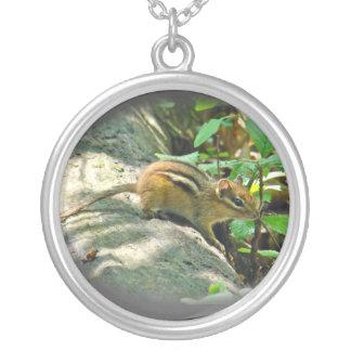 Eastern Chipmunk on Log Round Pendant Necklace