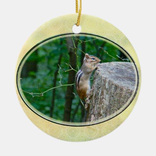 Eastern Chipmunk on Stump Christmas Ornaments