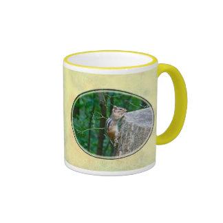 Eastern Chipmunk on Stump Ringer Coffee Mug