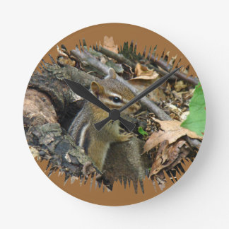 Eastern Chipmunk - Tamias striatus Round Clock