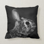Eastern Cottontail Bunny Rabbit, Black and White Throw Pillow