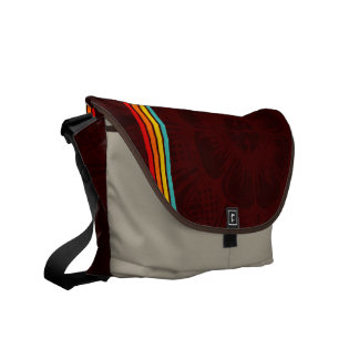 Eastern Flower With Retro Stripes On A Grunge Back Courier Bag