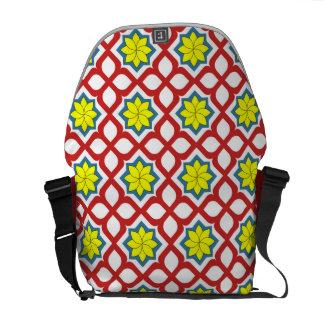 Eastern geometric floral design messenger bag