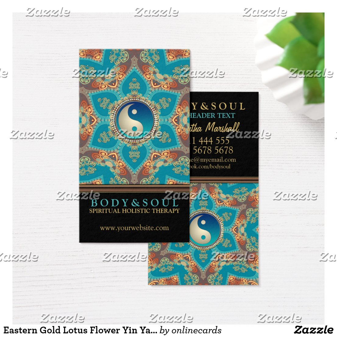 Eastern Gold Lotus Flower Yin Yang Business Cards