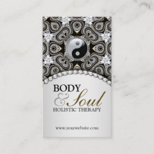 Eastern Healing Black Silver New Age Business Card