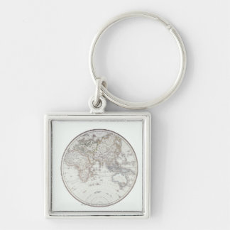 Eastern Hemisphere 2 Silver-Colored Square Keychain