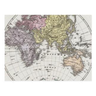 Eastern Hemisphere Atlas Map Postcard