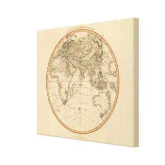 Eastern Hemisphere Circular Map Canvas Print