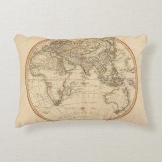 Eastern Hemisphere Circular Map Accent Pillow