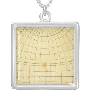 Eastern Hemisphere Outline Square Pendant Necklace