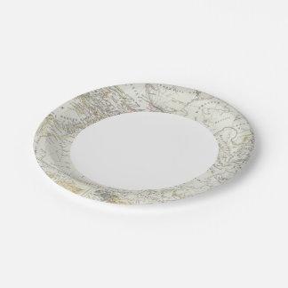 Eastern Hemisphere World Map 7 Inch Paper Plate