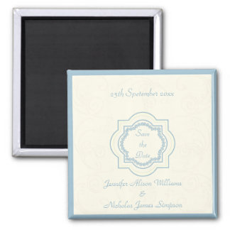 Eastern Inspired Save the Date in Blue & Ivory Magnet