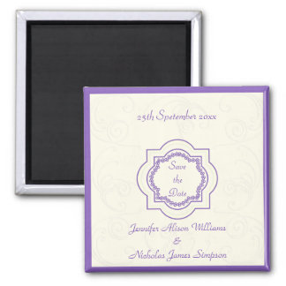 Eastern Inspired Save the Date in Purple & Ivory Magnet