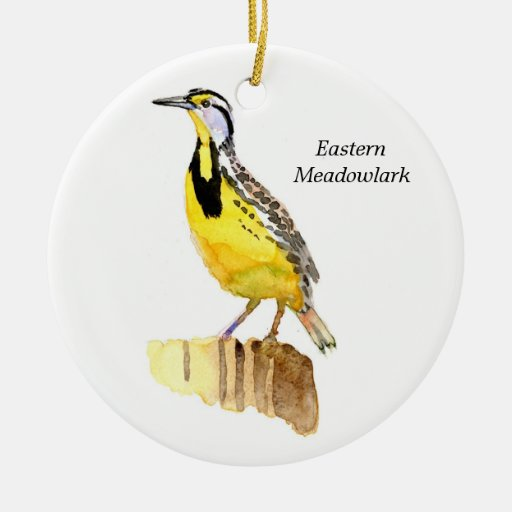 Eastern Meadowlark Double-Sided Ceramic Round Christmas Ornament