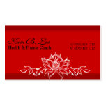 Eastern Modern Red Asian Sacred Lotus Garden Business Card Template
