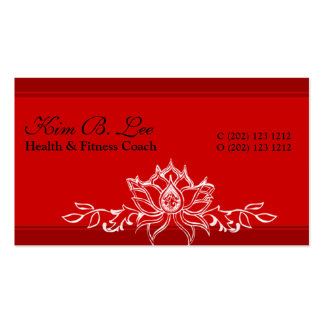 Eastern Modern Red Asian Sacred Lotus Garden Double-Sided Standard Business Cards (Pack Of 100)
