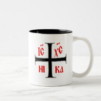 Eastern Orthodox Cross Two-Tone Coffee Mug