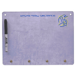 Eastern Pictograms - Blues, Yellows, Wise Sayings Dry Erase Board With Keychain Holder