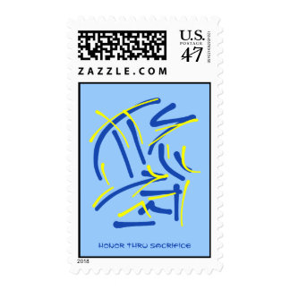 Eastern Pictograms - Blues, Yellows, Wise Sayings Stamp