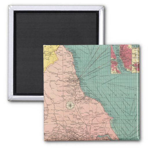 Eastern ports of Great Britian 2 Inch Square Magnet