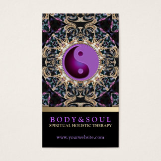 Eastern Purple YinYang New Age Yoga Business Cards