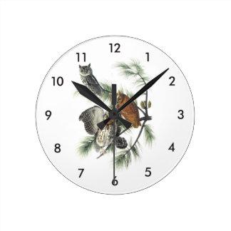 Eastern Screech Owl by Audubon Round Clock