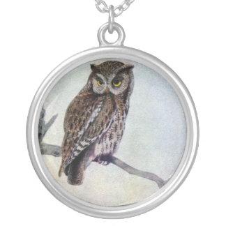 Eastern Screech Owl Round Pendant Necklace
