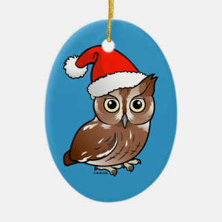Eastern Screech Owl Santa Ornaments