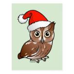 Eastern Screech Owl Santa Postcard