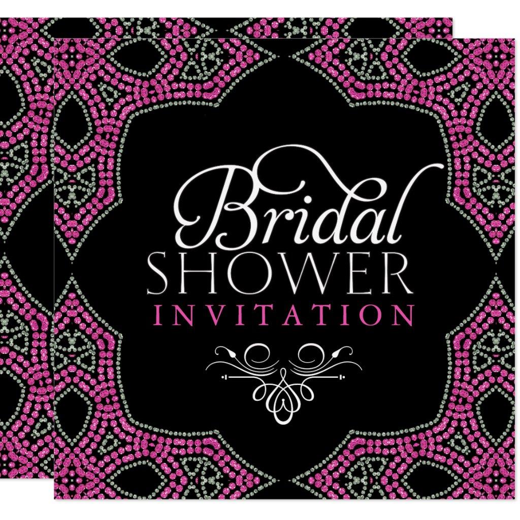 Eastern Sparkle Pink Bridal Shower Invitations