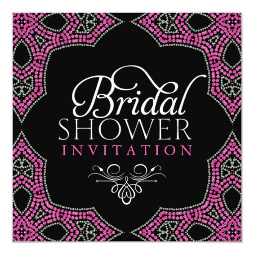 Eastern Sparkle Pink Bridal Shower Invitations