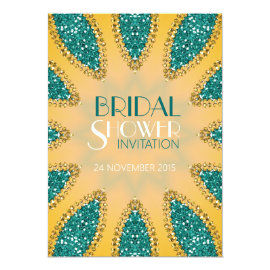 Eastern Sparkle Teal Gold Bridal Shower Invites