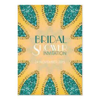 "Eastern Sparkle Teal Gold Bridal Shower Invites 5"" X 7"" Invitation Card"