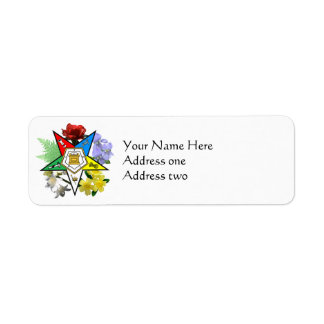 Eastern Star Floral Return Address Labels