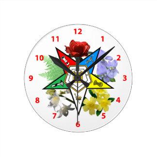 Eastern Star Floral Wall Clock