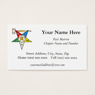 Eastern Star Past Matron Business Card