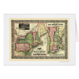 Eastern States Railroad Map 1856 Greeting Cards