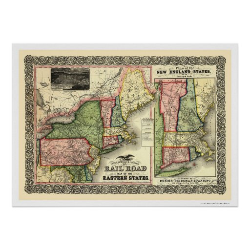 Eastern States Railroad Map 1856 Print
