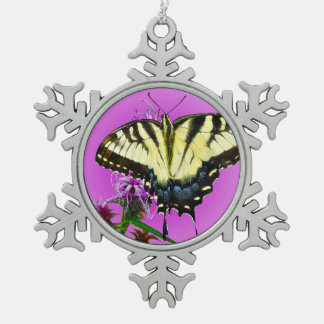 Eastern Tiger Butterfly on Pink Background Snowflake Pewter Christmas Ornament