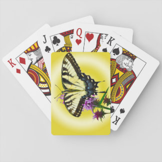 Eastern Tiger Butterfly on Yellow Background Poker Deck