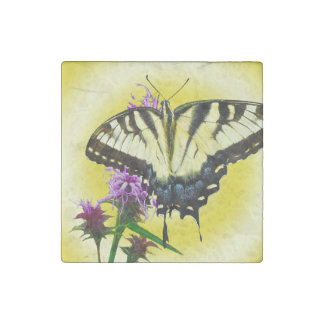 Eastern Tiger Butterfly on Yellow Background Stone Magnet