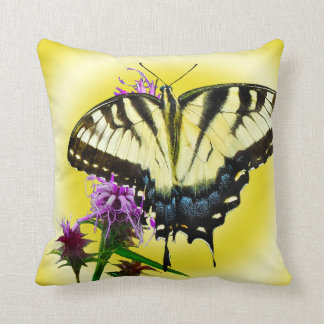 Eastern Tiger Butterfly on Yellow Background Throw Pillow