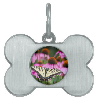 Eastern Tiger Swallowtail Butterfly On Coneflowers Pet Tag