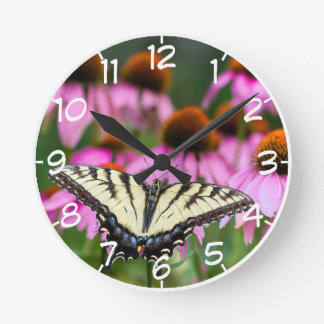 Eastern Tiger Swallowtail Butterfly On Coneflowers Round Clock