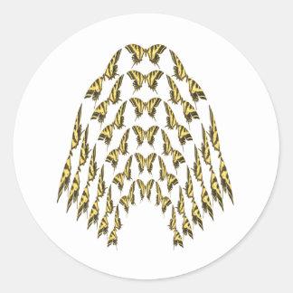 Eastern Tiger Swallowtail Flock Flying Upward Classic Round Sticker